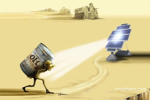 کارتون «فرجام نفت - فسیل شدن سوخت فسیلی»، کاری از «بنیامین آل علی» کارتونیست انصاف نیوز