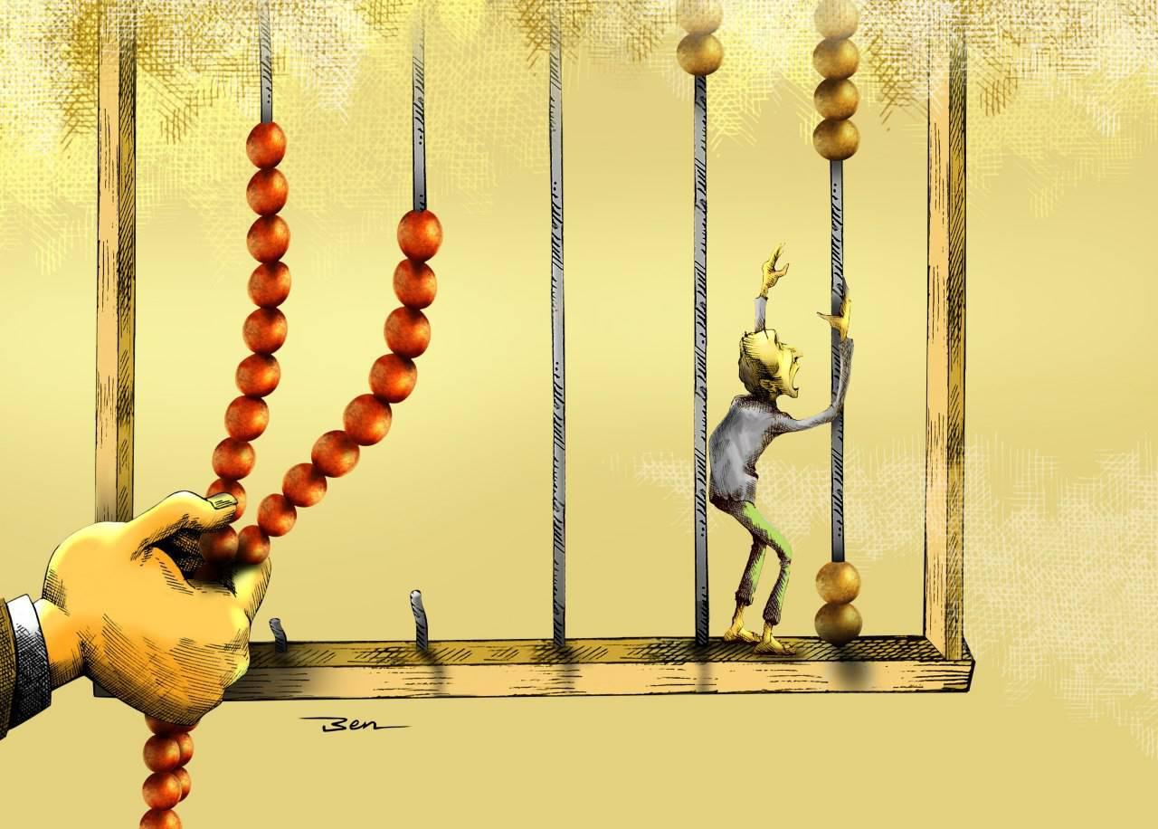 کارتون   موسسات اعتباری / کاری از بنیامین آل علی کارتونیست انصاف نیوز