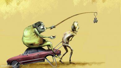 کارتون «خودرو ساز» کاری از بنیامین آل علی، کارتونیست انصاف نیوز در کنایه به خودروساز و خودروسازی داخلی