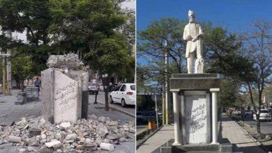 تخریب مجسمه فردوسی در قزوین