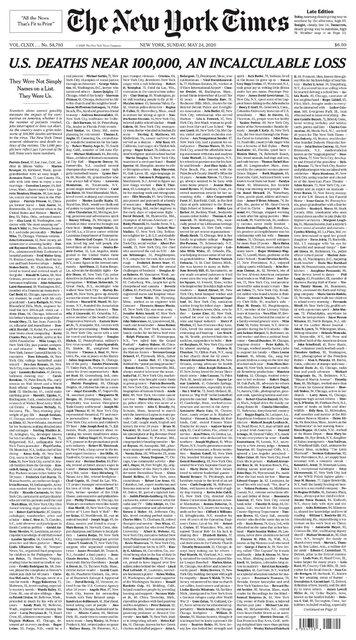 هزار آگهی مرگ در صفحه نخست نیویورک تایمز!