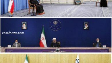عکس | فاصلهی اجتماعی از نظر رهبری، روحانی و قالیباف
